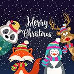 圣诞节雪中动物