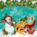 圣诞节雪橇车和雪人