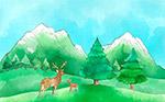 郊外自然鹿风景