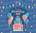 生日蛋糕气球贺卡