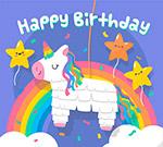 生日彩虹和独角兽