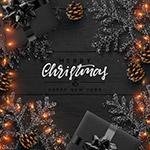 黑色圣诞新年贺卡