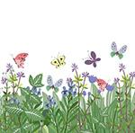花丛和蝴蝶矢量