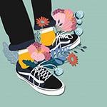 创意板鞋和花卉