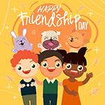 友谊日儿童和动物