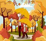 散步的撑伞父子