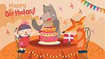 生日派对女孩和动物