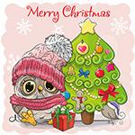 圣诞树和猫头鹰