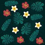 花卉树叶无缝背景