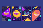 彩色2020年卡片