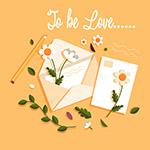 信封信纸和花卉
