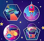 彩色太空元素标签