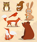 可爱秋季动物