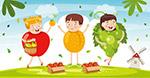 穿水果服装的儿童