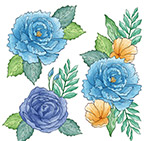 手绘蓝色花卉