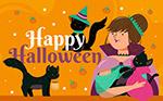 万圣节黑猫和女巫