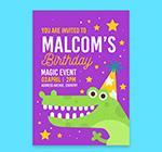 鳄鱼生日派对传单