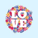 花卉装饰爱的艺术字