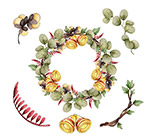 节日树叶和花环