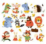 卡通秋季动物