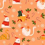 圣诞猫咪无缝背景