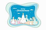 圣诞树和小城剪贴画