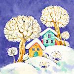 雪地上的房屋和树木