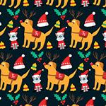 圣诞狗和猫背景