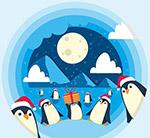 冰川圣诞企鹅群