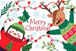 圣诞节企鹅和麋鹿