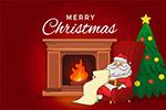 壁炉旁的圣诞老人