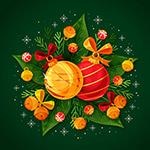 圣诞吊球和植物