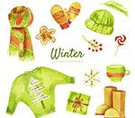 彩绘绿色冬季物品