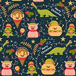 圣诞猪和快餐背景