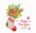 装满植物的圣诞袜