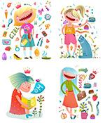 女孩与日用品插画