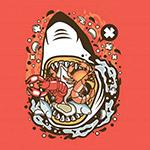 卡通鲨鱼海鲜