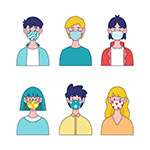 带口罩人物插画