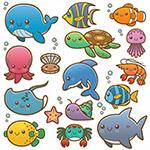 矢量卡通海洋动物