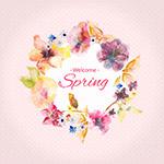 春天水彩花朵矢量