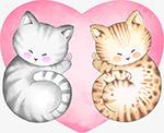水彩手绘爱心猫咪