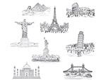 手绘世界著名景观