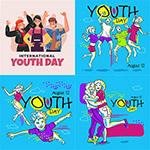 扁平化国际青年日插画