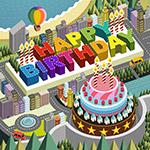 城市背景生日蛋糕