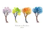 四季水彩树木矢量