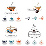 咖啡豆与咖啡杯标志