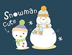 可爱卡通雪人矢量
