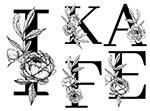 线描花朵装饰的字母2