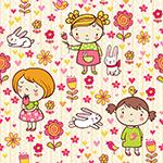 卡通女孩和花朵无缝背景