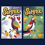 夏日氛围鹦鹉海报